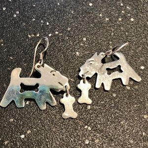 Genuine Sterling silver Dog with bone earrings!